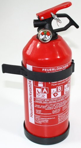 1 Stück Feuerlöscher Pulver ABC 1kg mit Halterung Autofeuerlöscher fabrikfrisch! Bild