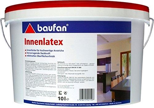 Baufan Innenlatex Latexfarbe matt weiß scheuerbeständig 10l Bild