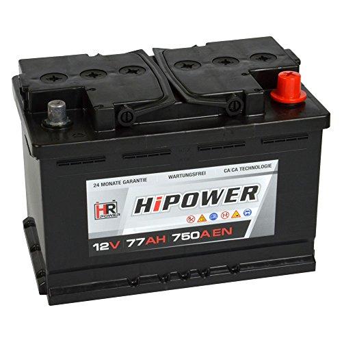 HR HiPower Autobatterie 12V 77Ah 750A/EN Starterbatterie ersetzt 70Ah 71Ah 72Ah 74Ah Bild