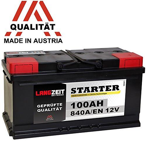 LANGZEIT Autobatterie 12V 100AH ersetzt 88Ah 90Ah 92Ah 95Ah 100Ah Bild