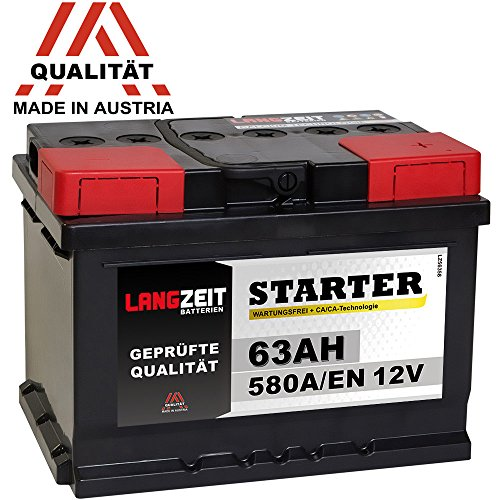 LANGZEIT Autobatterie 12V 63Ah ersetzt 60Ah 54Ah 55Ah 56Ah 62Ah 65Ah Bild