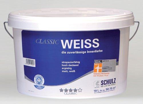 Schulz Classic Weiss, Wandfarbe, Wandfarbe, weiß, 10l, Stiftung Warentest gut Bild