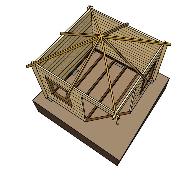 Fundament mit Holzwand und Dach mehr Details