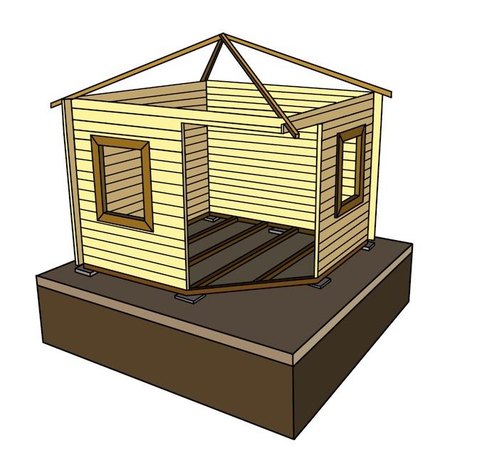 Fundament mit Holzwand und Dach