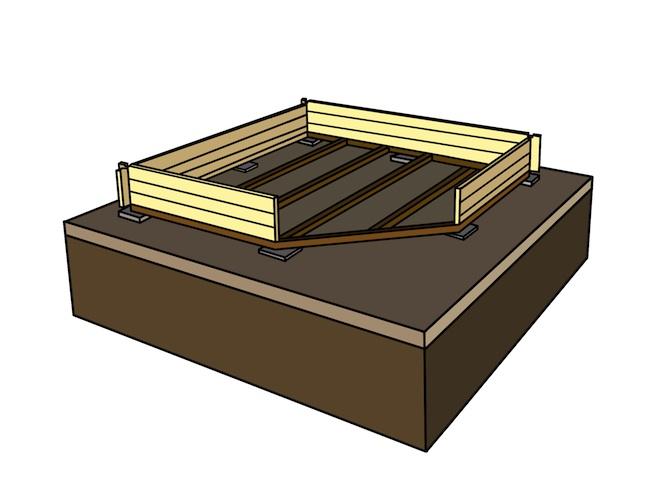 Fundament Basis mit Holzwand