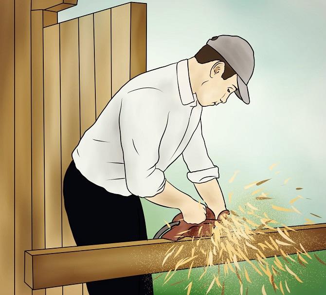 Holzverblendung an Holzgarage