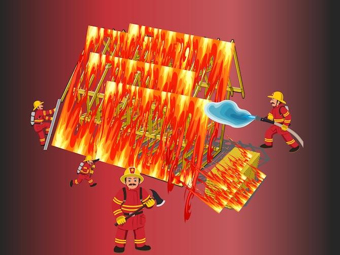 Feuer beim Rohbau