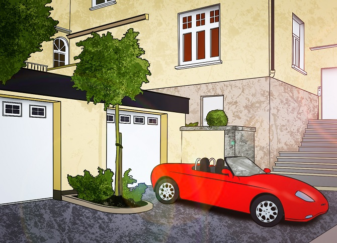 Doppelgarage mit Auto
